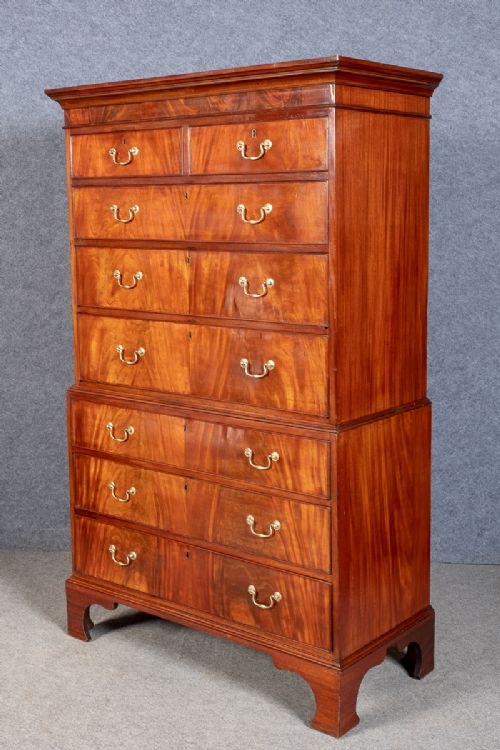 good george iii mahogany tall boy chest on chest
