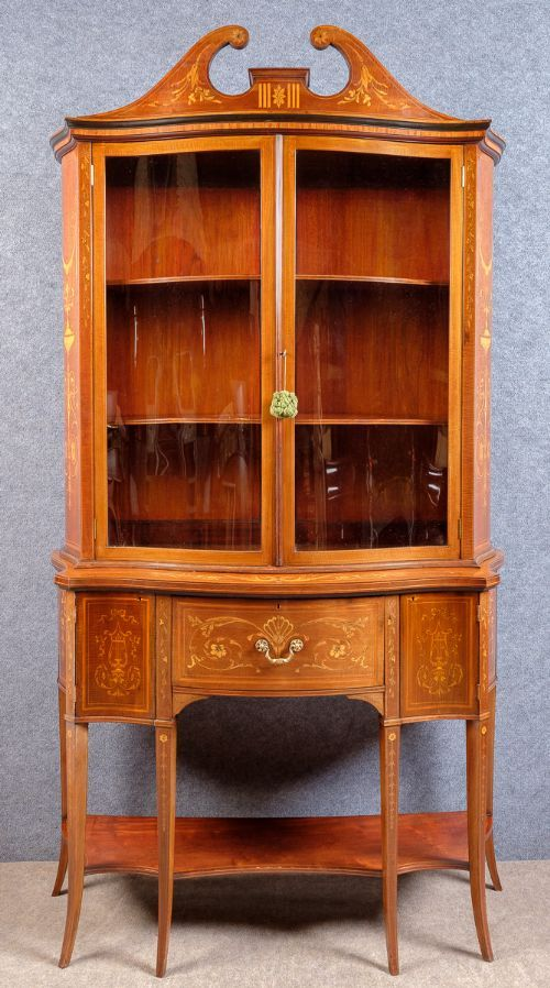 edwards and roberts inlaid secretaire bookcase