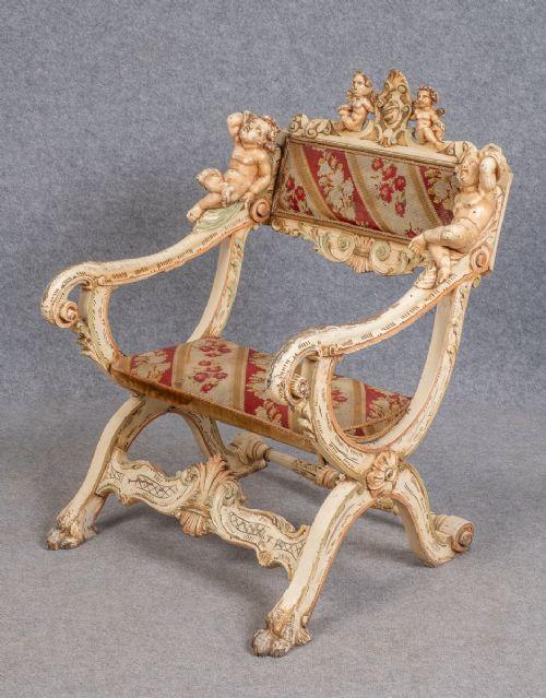 unusual venetian carved painted chair