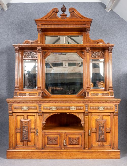 very large victorian architectural mirror back sideboard