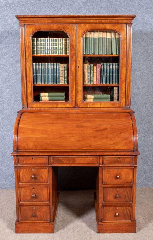 good quality mahogany cylinder bureau bookcase