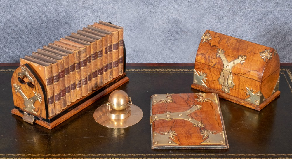 fine victorian 4 piece walnut desk set