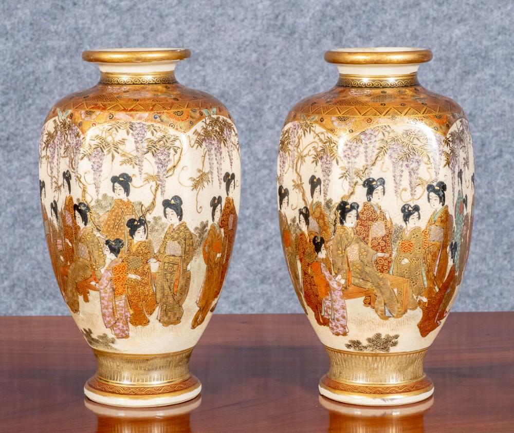 pair of meiji period satsuma vases