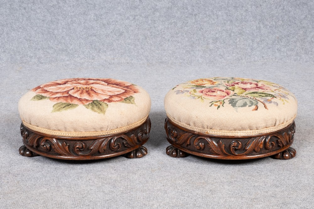 pair victorian carved oak stools