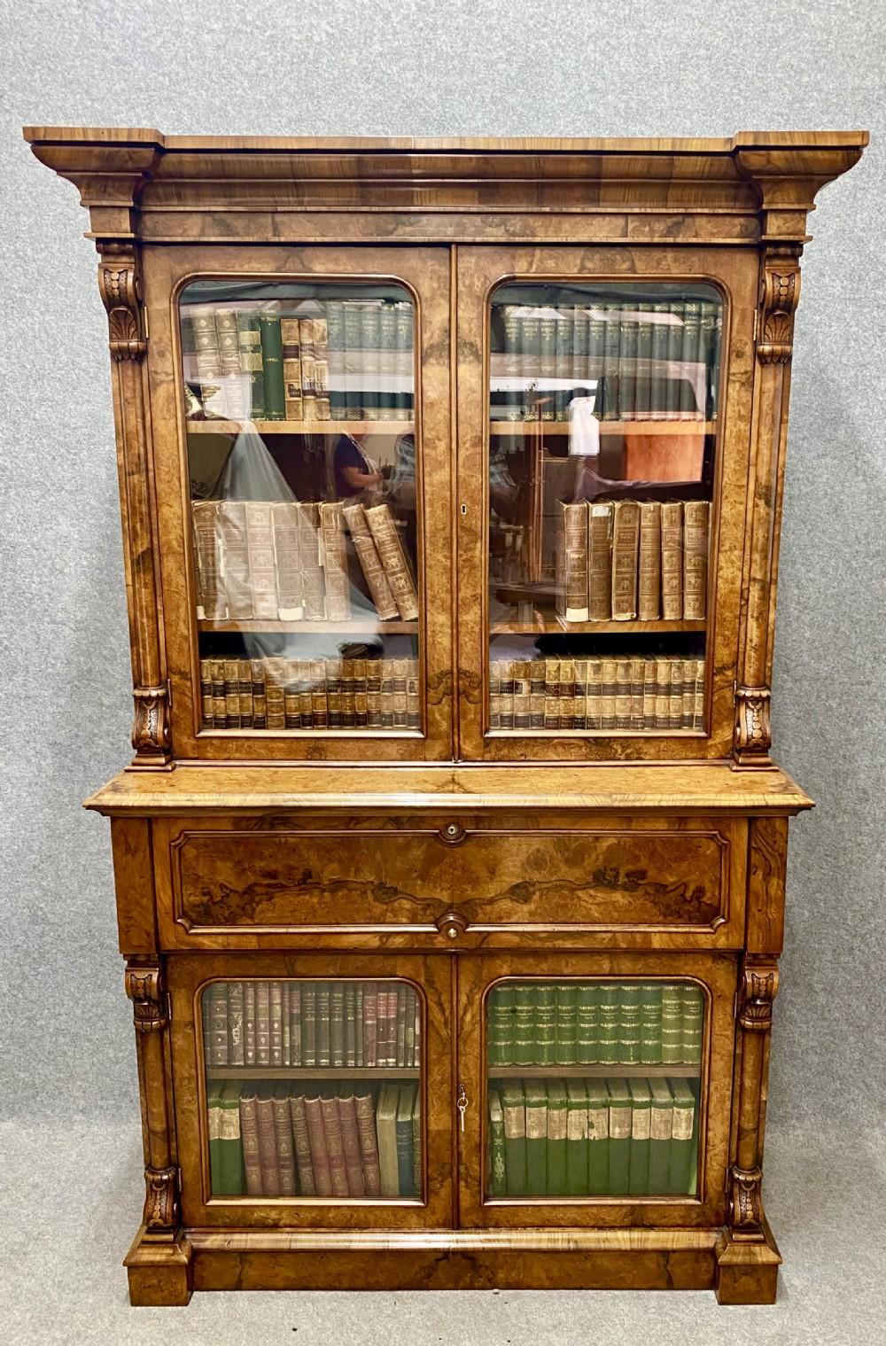 fine victorian burr walnut secretaire bookcase