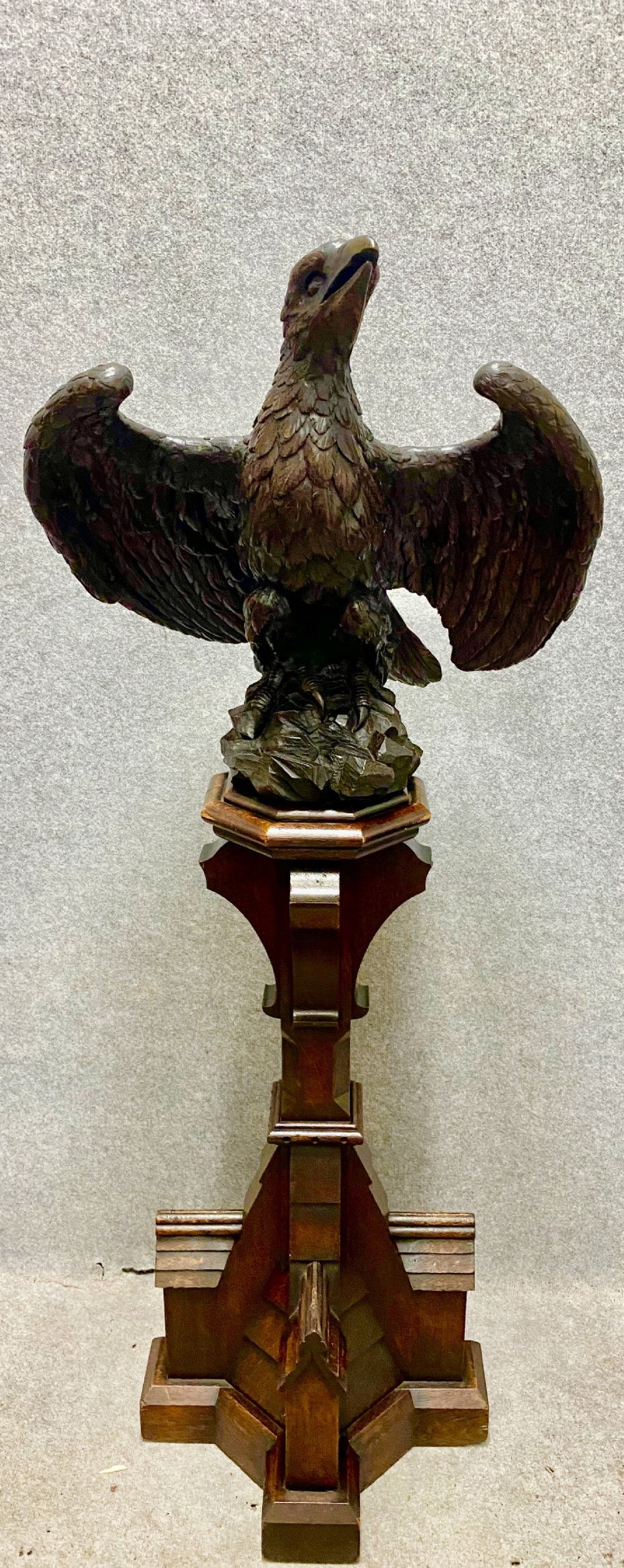 superb antique carved oak eagle lectern