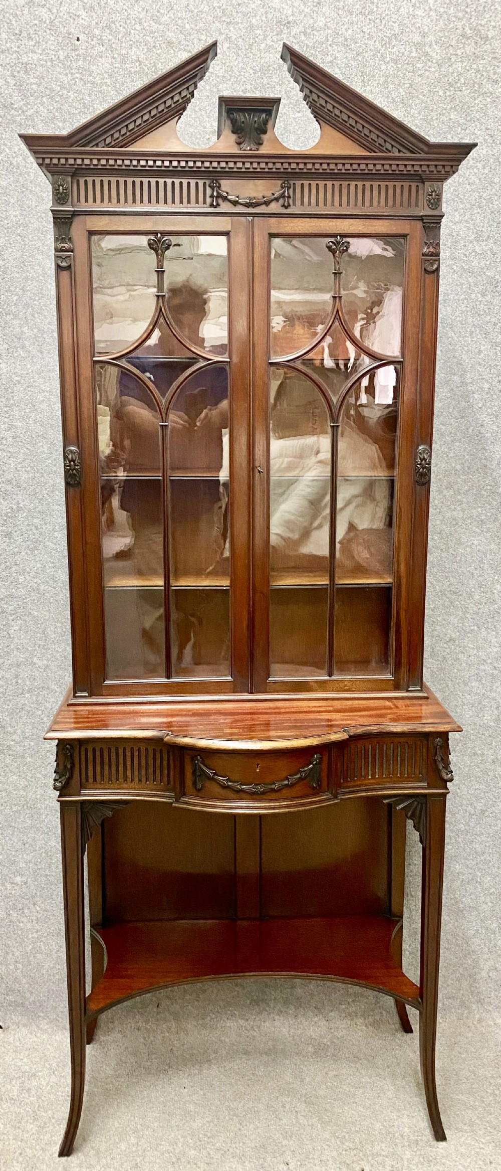 edwards roberts chippendale style cabinet bookcase
