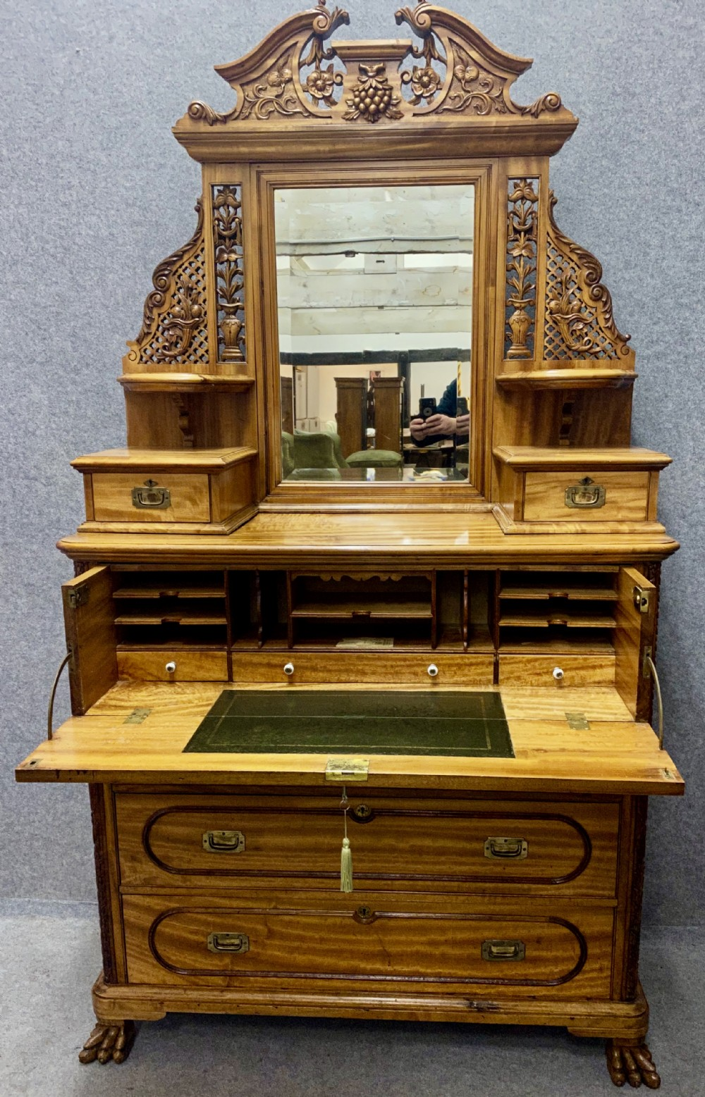 rare chinese export camphor wood campaign dressing chest