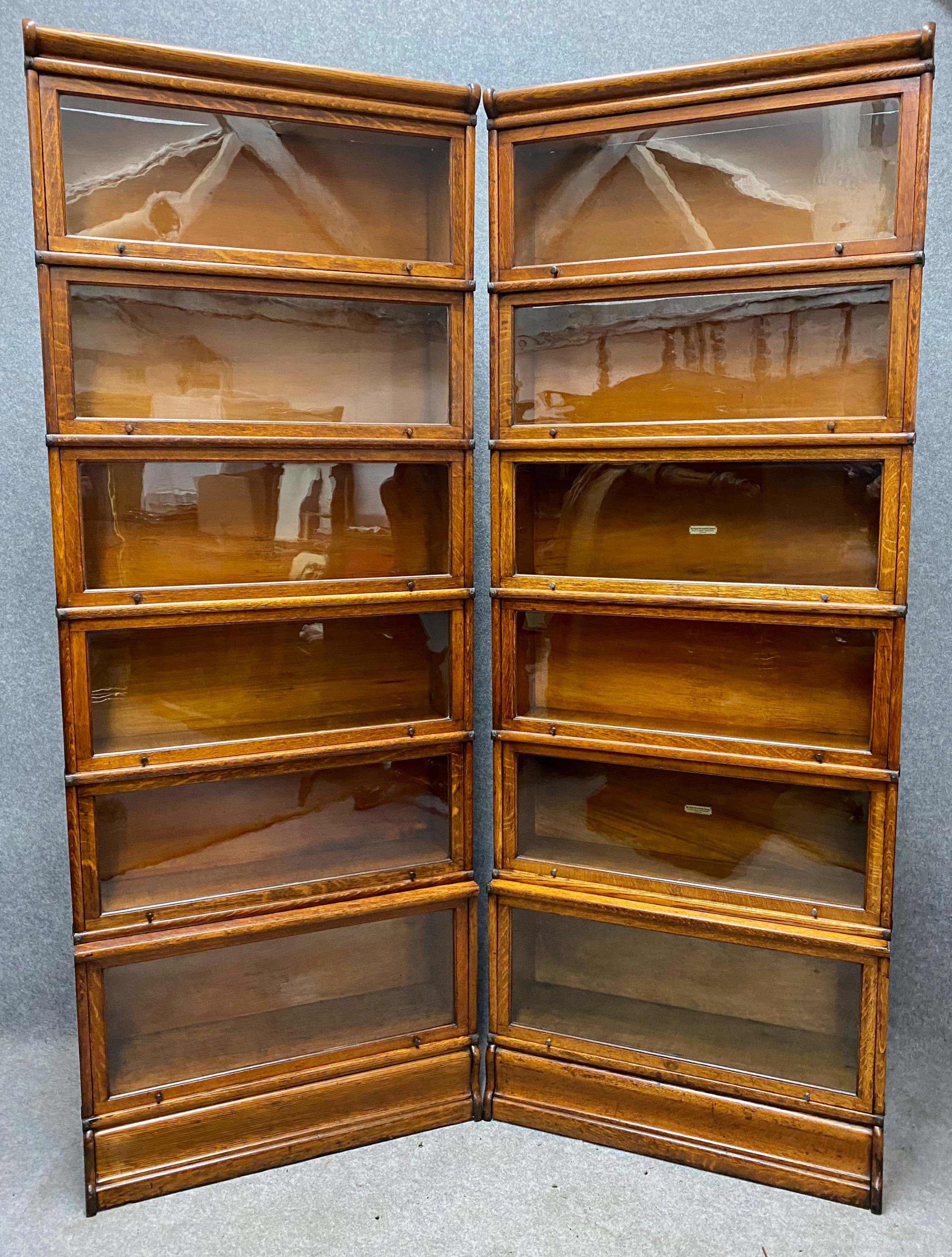pair of oak 6 section globe wernicke bookcases