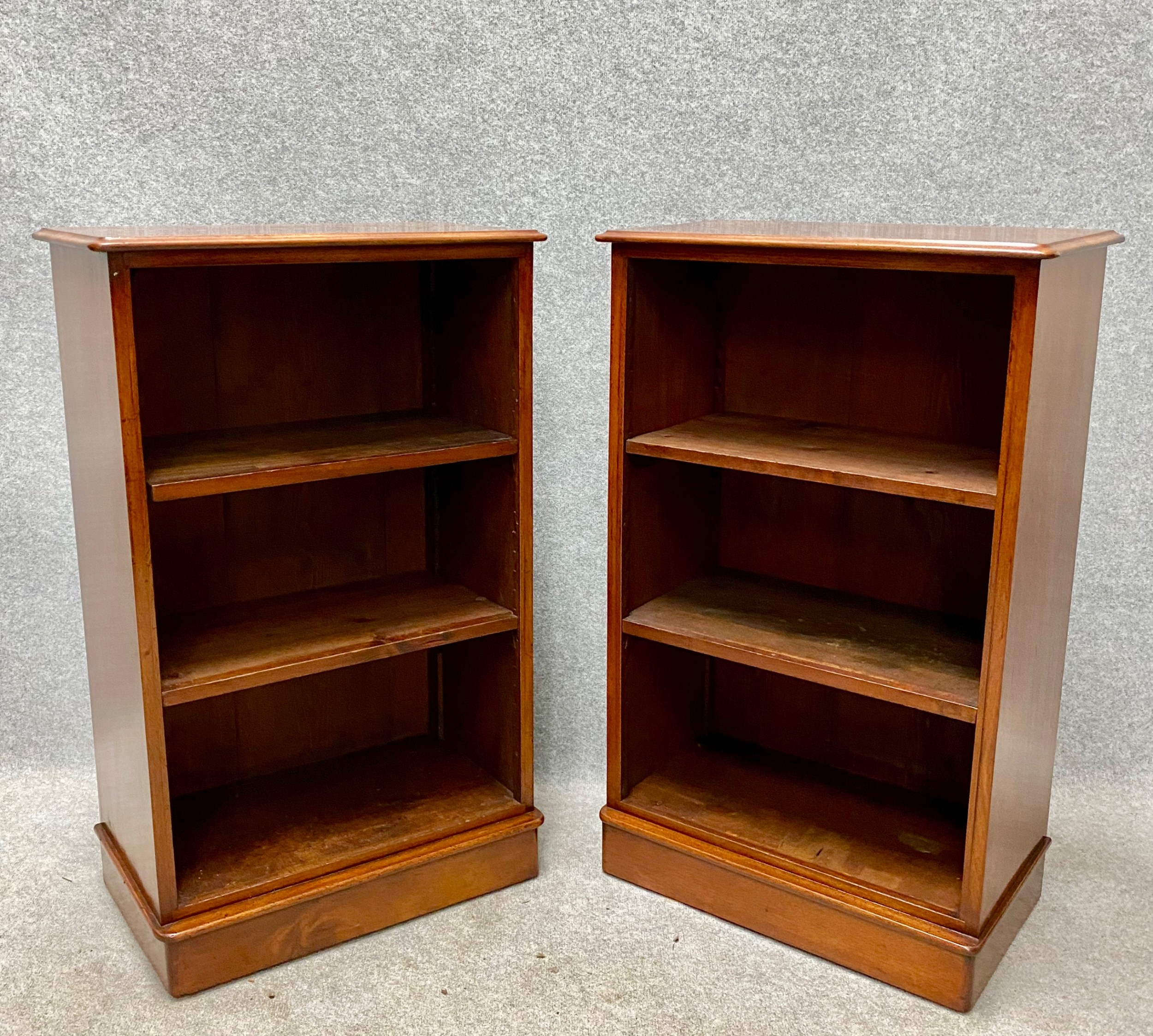 pair of victorian mahogany open bookcases