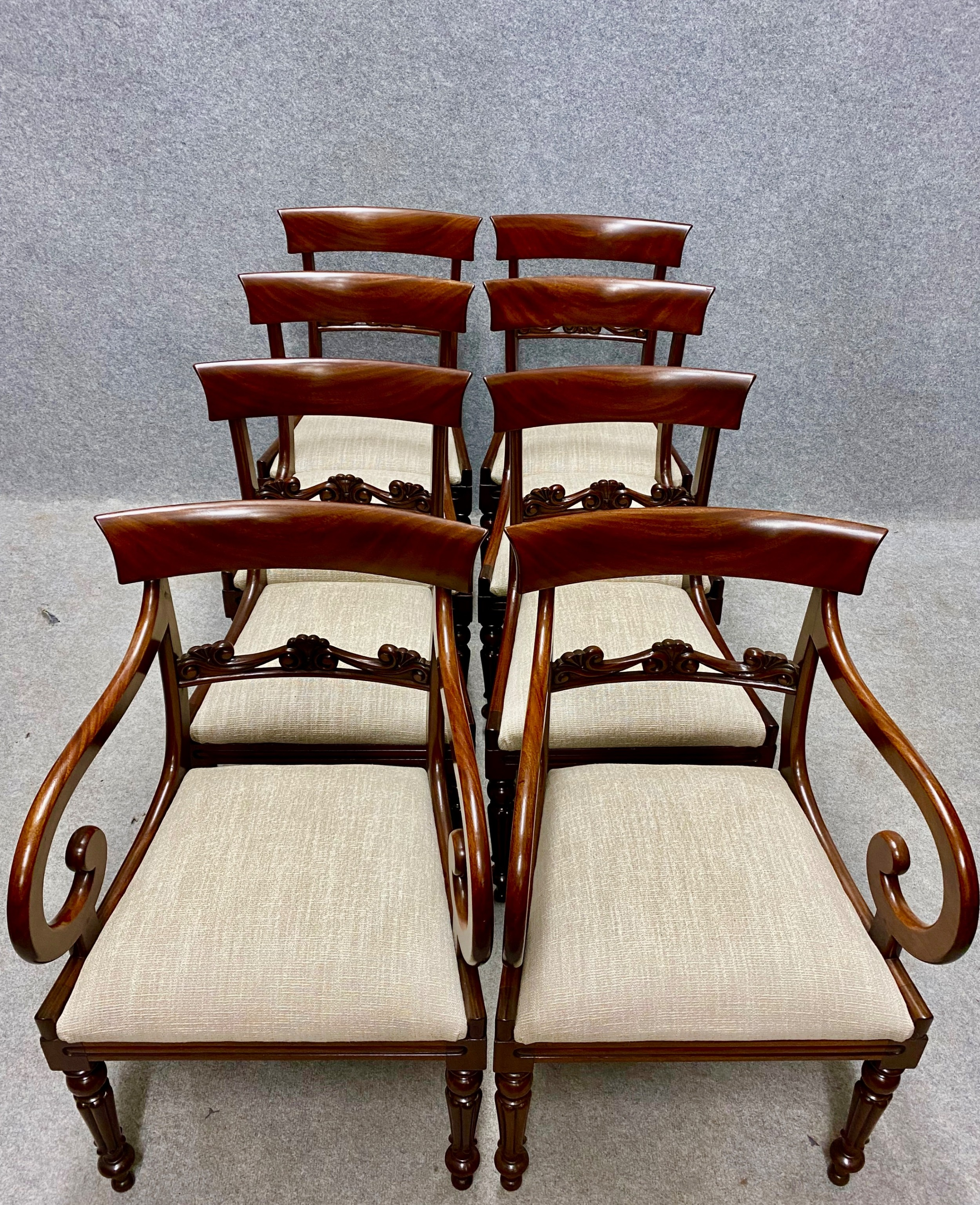 very good set of 8 62 william iv mahogany dining chairs