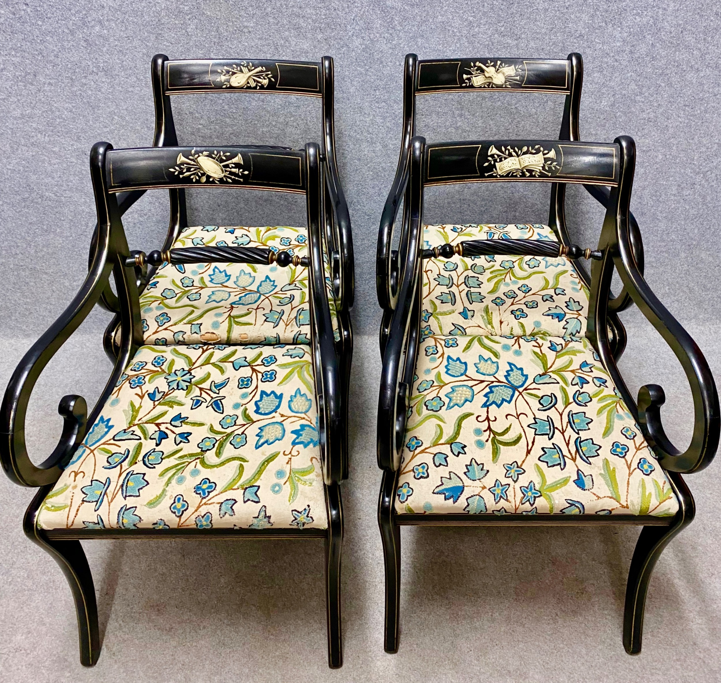 set of 4 regency style ebonised decorated elbow chairs