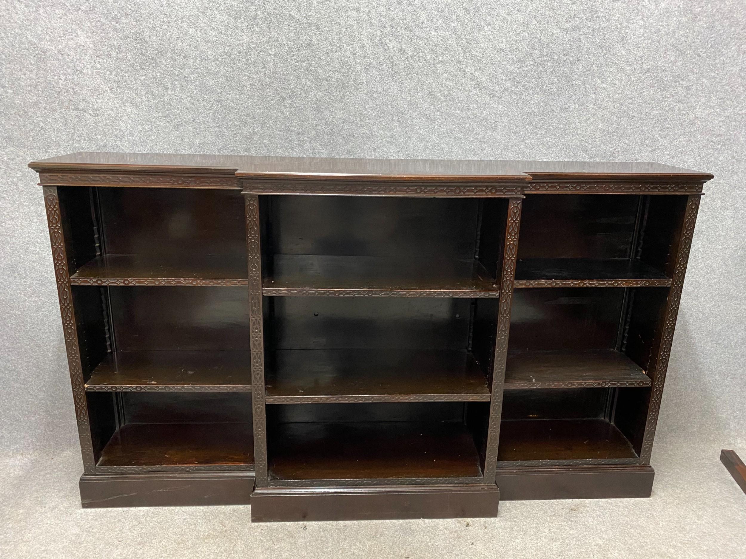 edwardian mahogany breakfront open bookcase