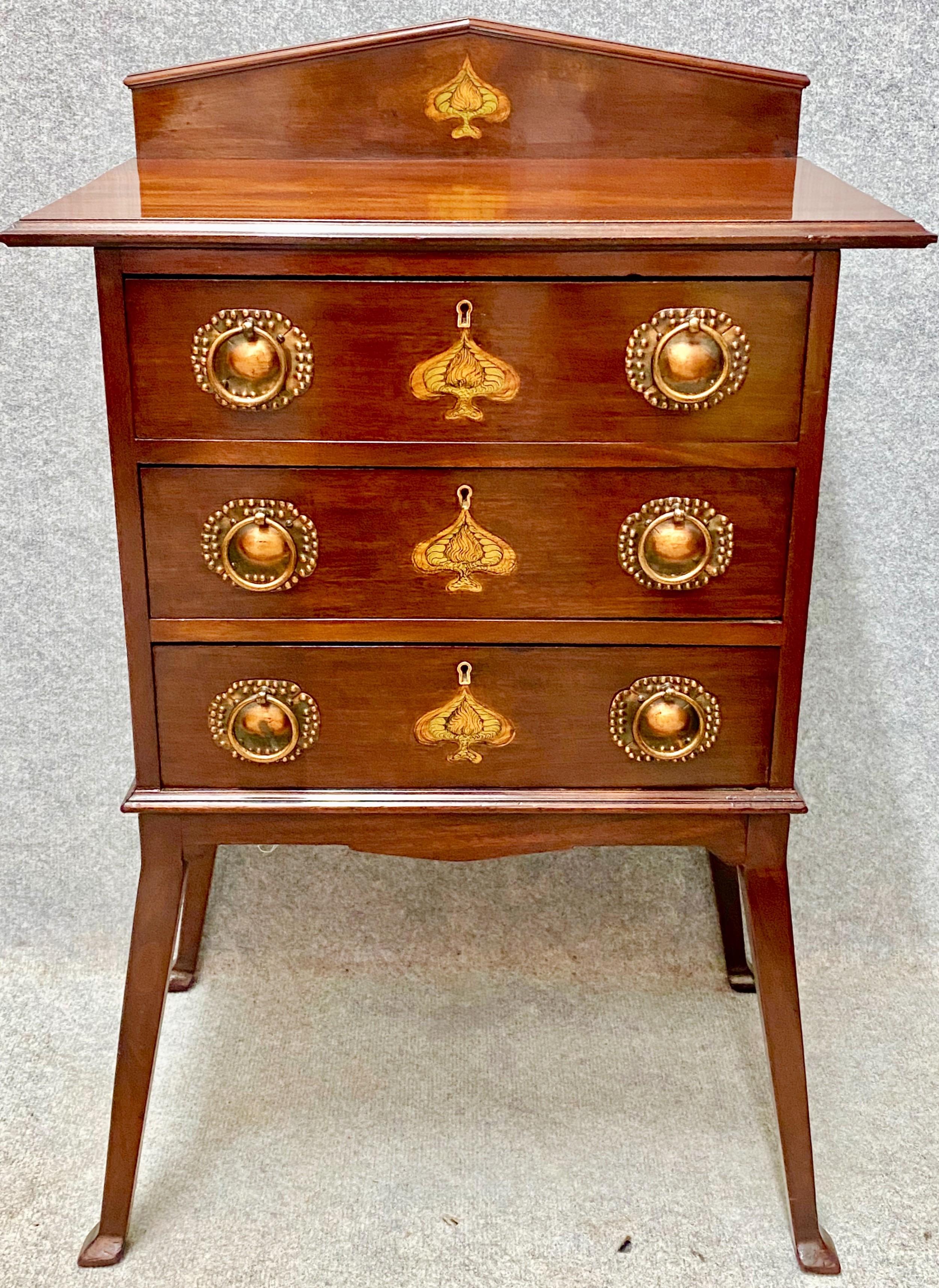 stylish art nouveau mahogany inlaid chest of drawers