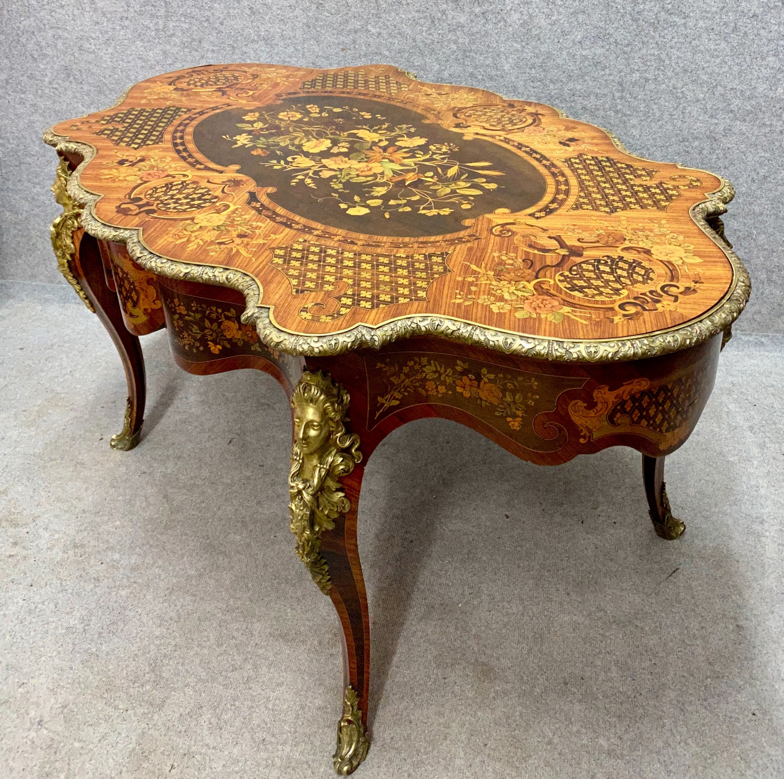 fine french marquetry centre table