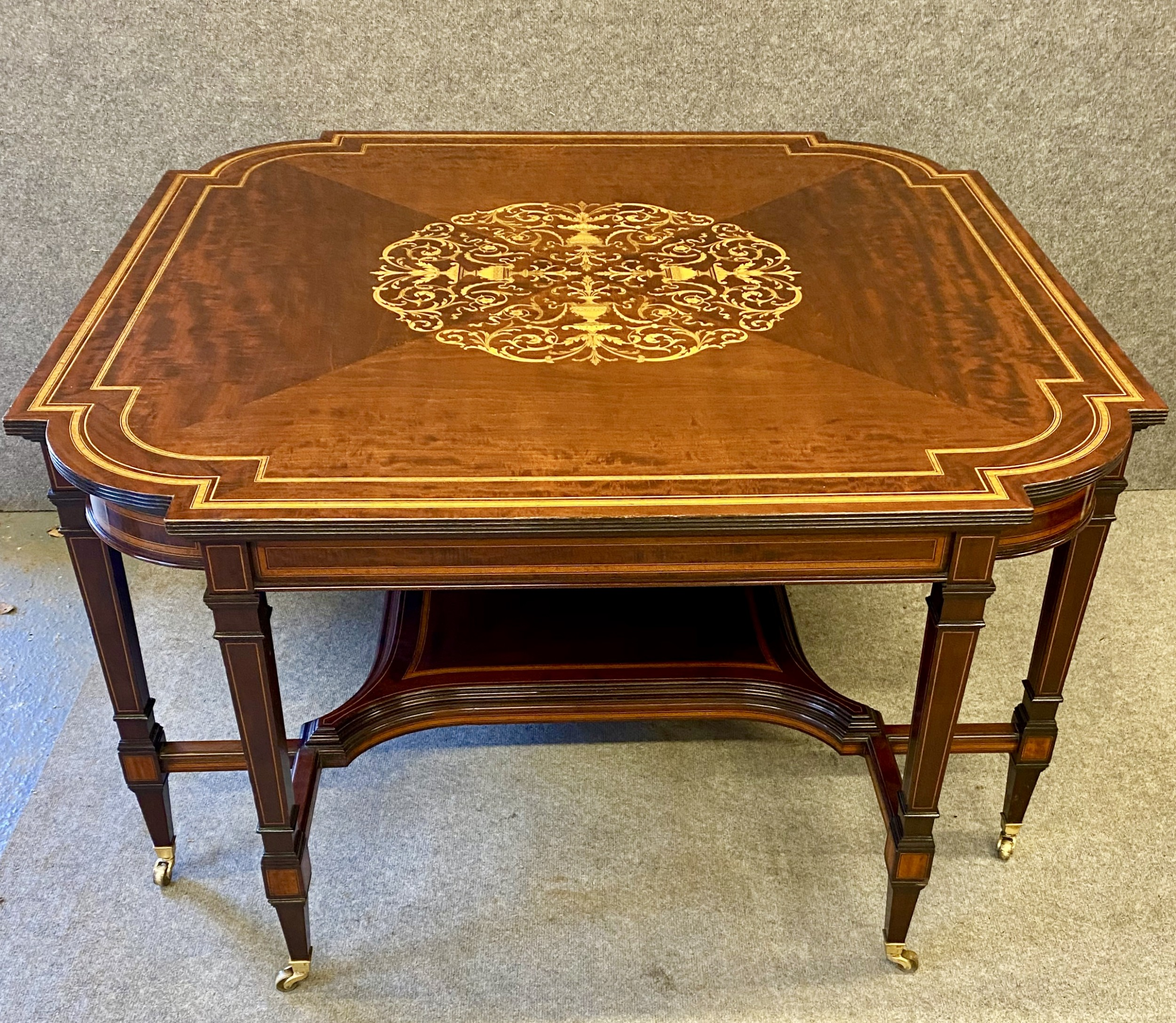 fine quality large mahogany inlaid centre table