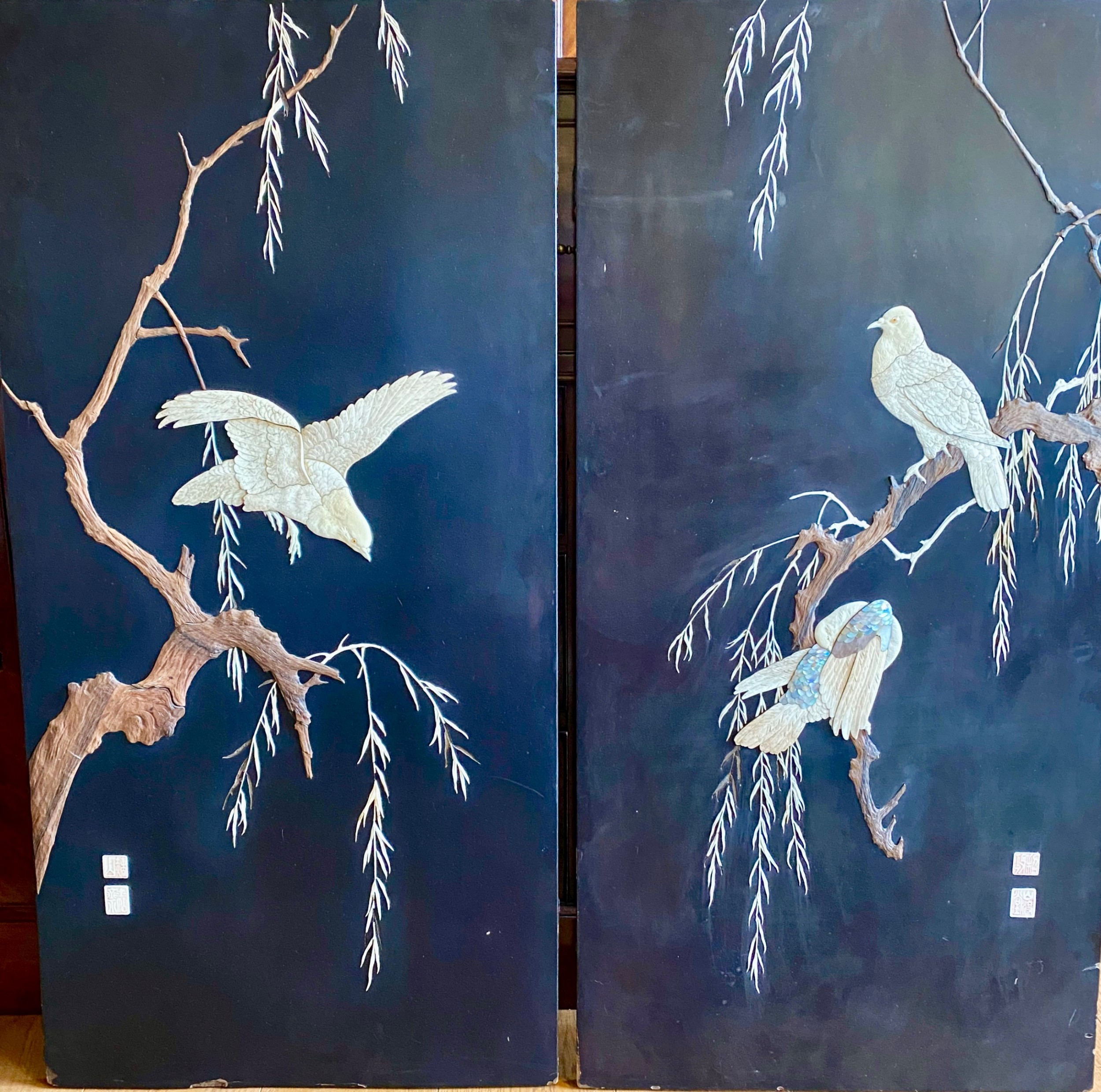 large pair shibayama style wall plaques