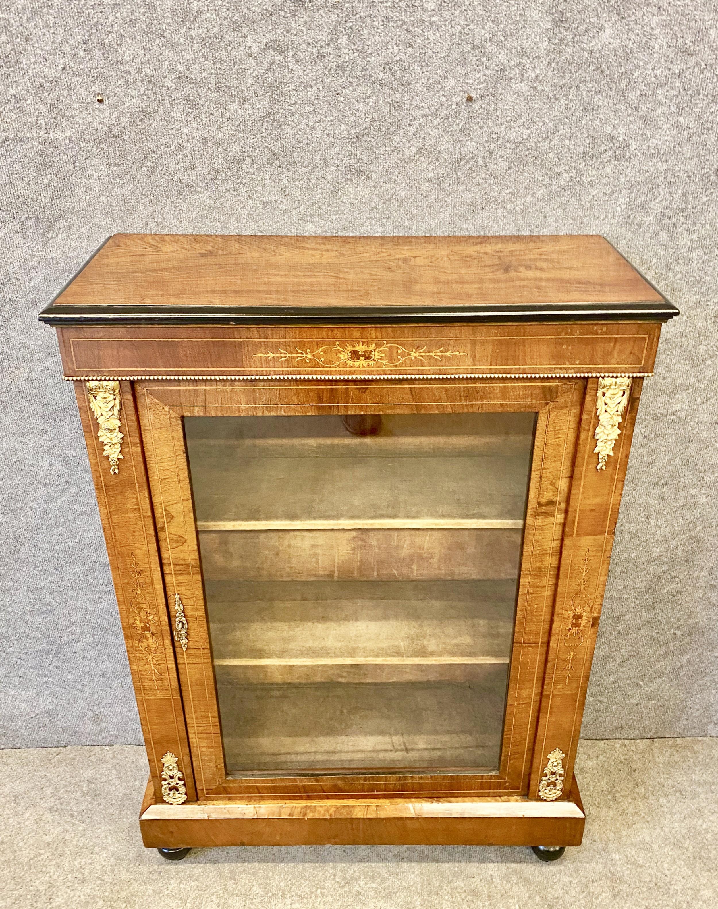 small late victorian walnut inlaid bookcase