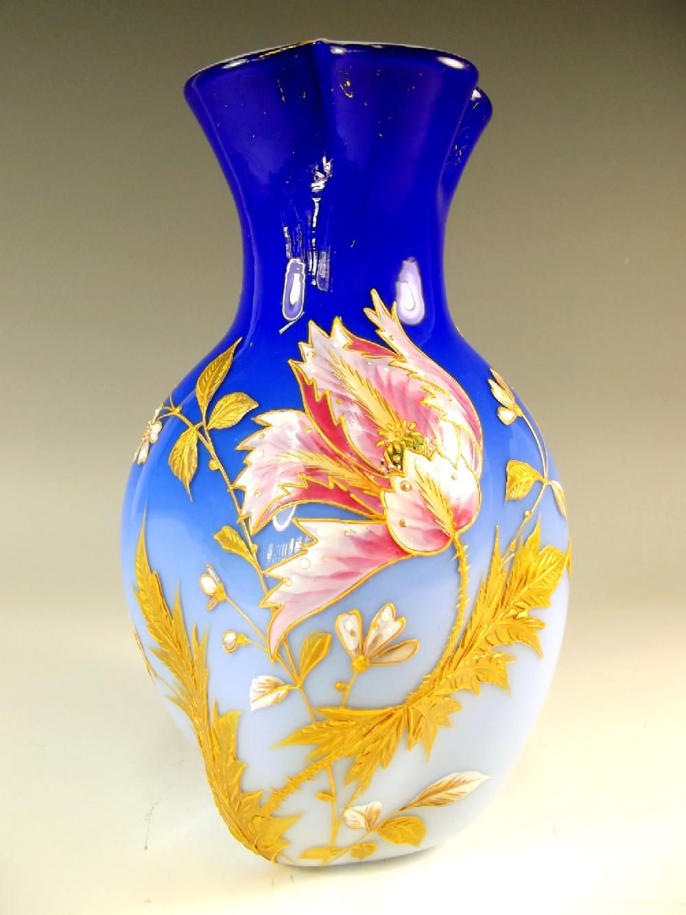 Harrach Cased Glass Gilt And Enamel Vase C 1890 | 561879