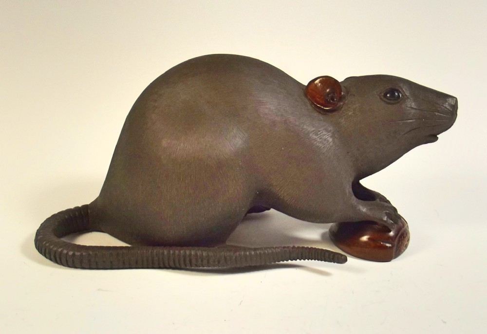 large japanese meiji period bronze rat okimono