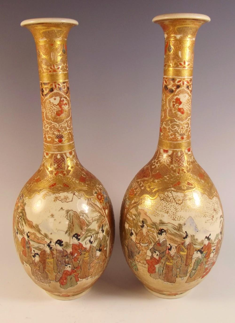 fine pair japanese meiji period satsuma vases