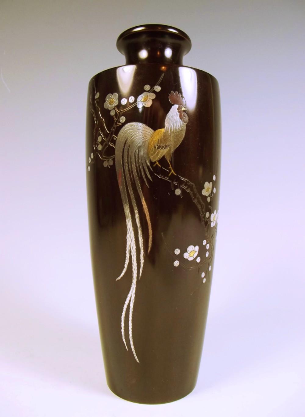 japanese bronze cockerel vase silver and gold inlay meiji period