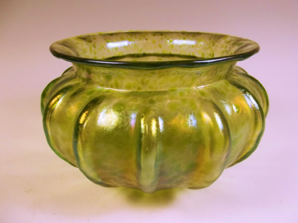 bohemian loetz green papillon ribbed bowl