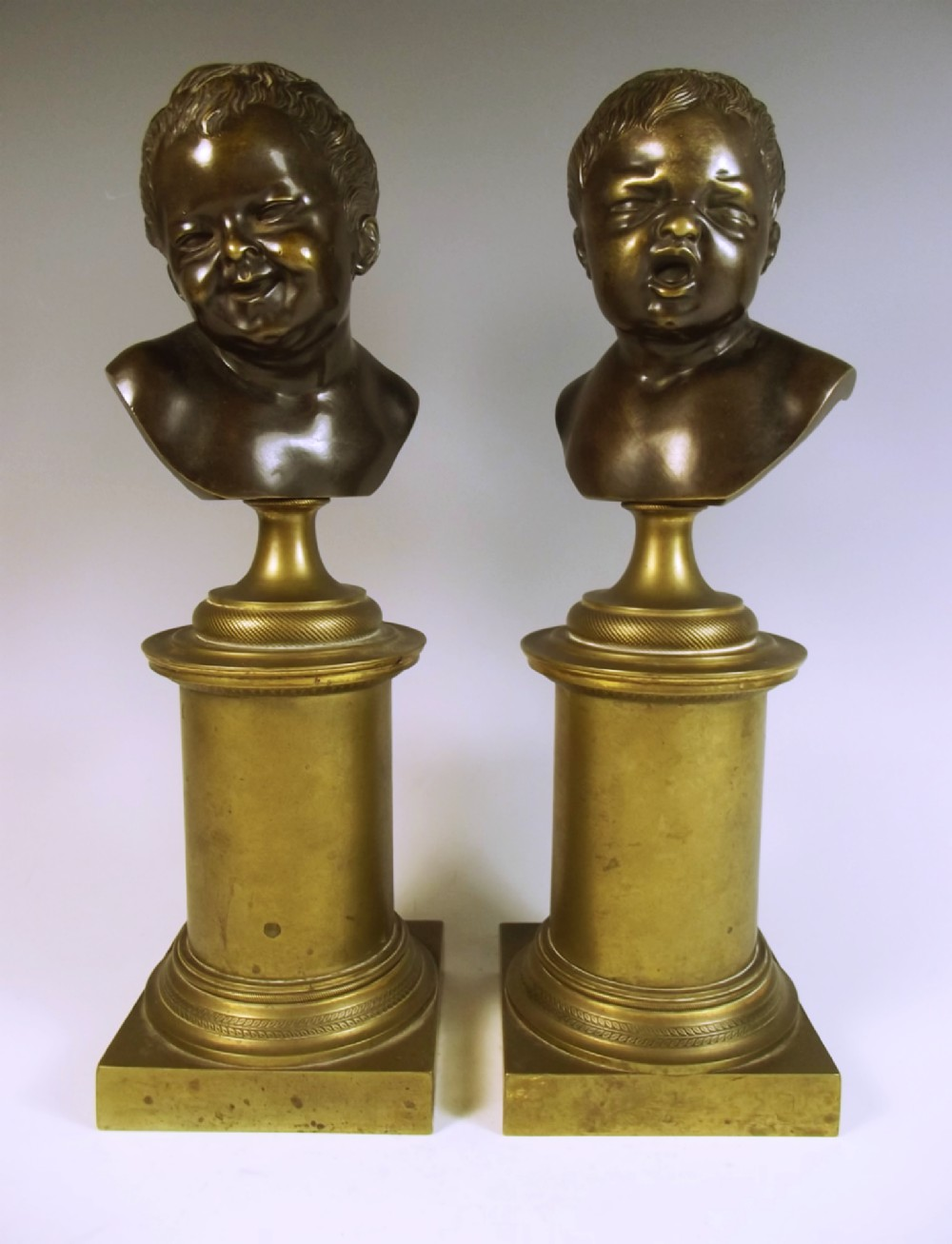 pair french ormolu bronze putti busts comedy and tragedy
