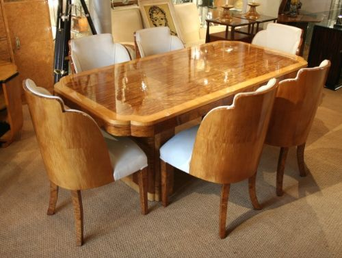 Epstein art deco dining table and chairs 216922 for Art dining room furniture