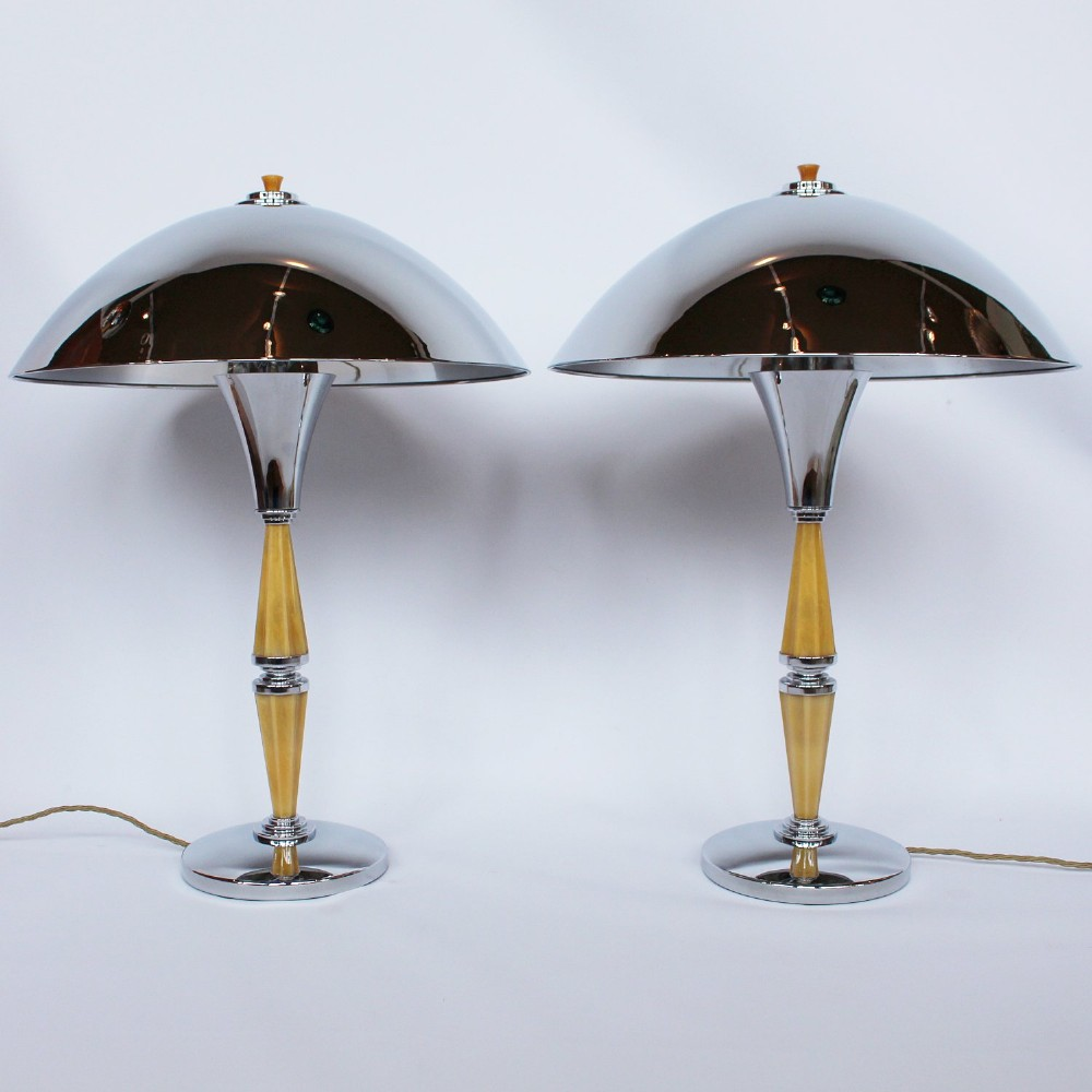 pair of art deco dome lamps c1930