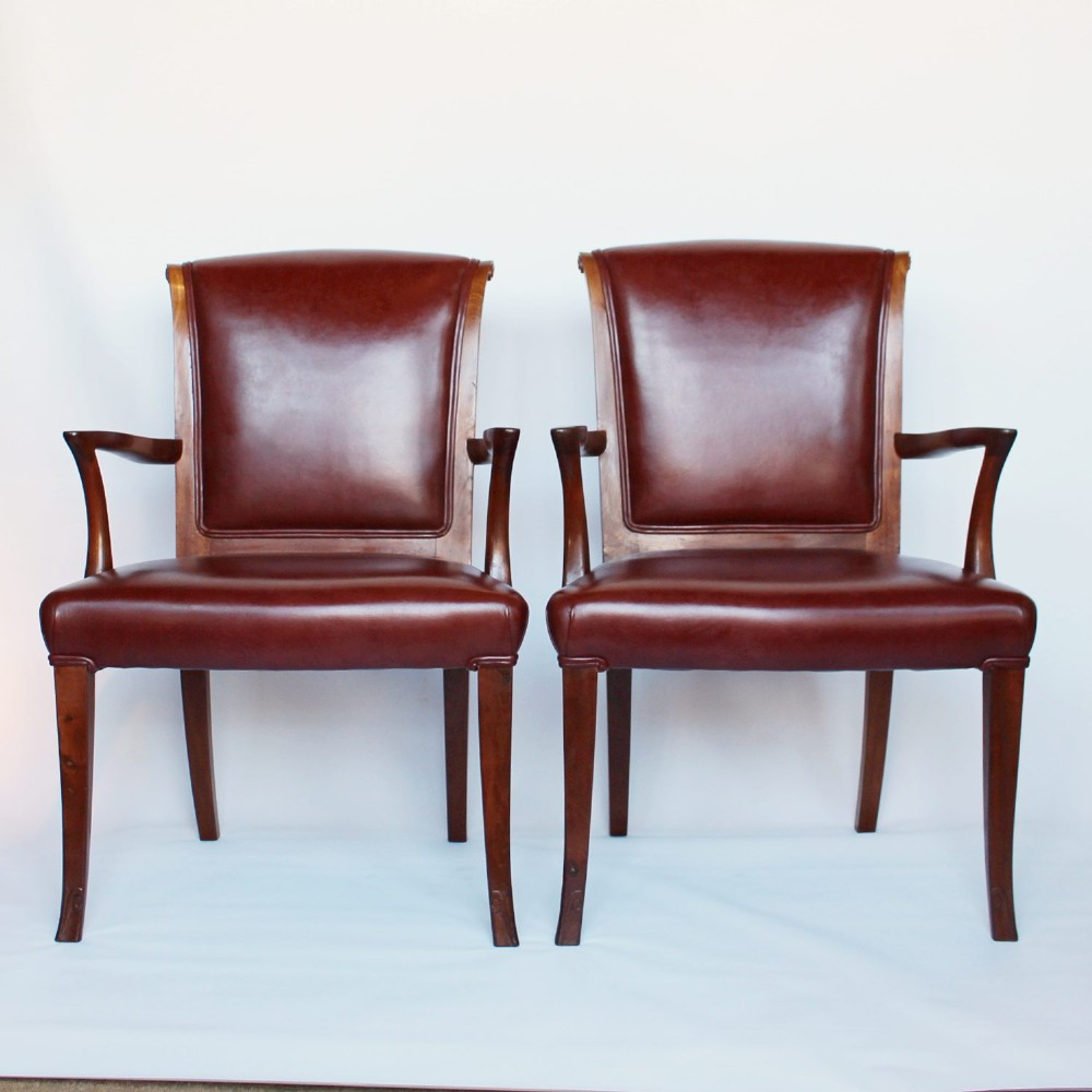 a pair of art deco side chairs circa 1930