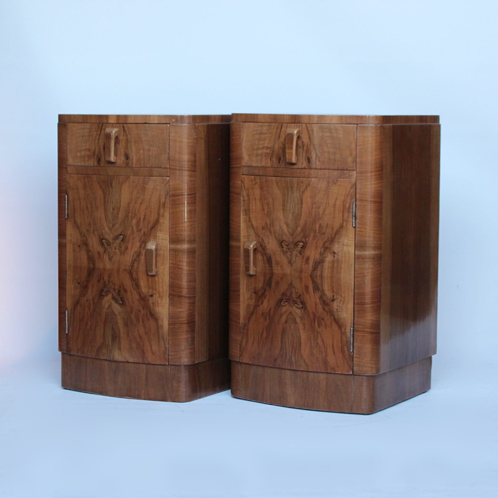 a pair of art deco bedside cabinets c1930