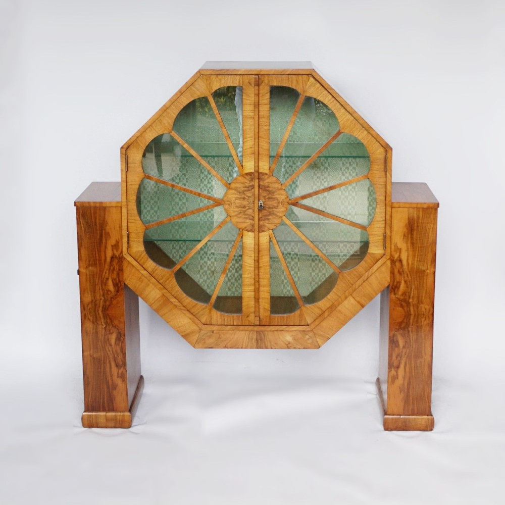 art deco octagonal display cabinet