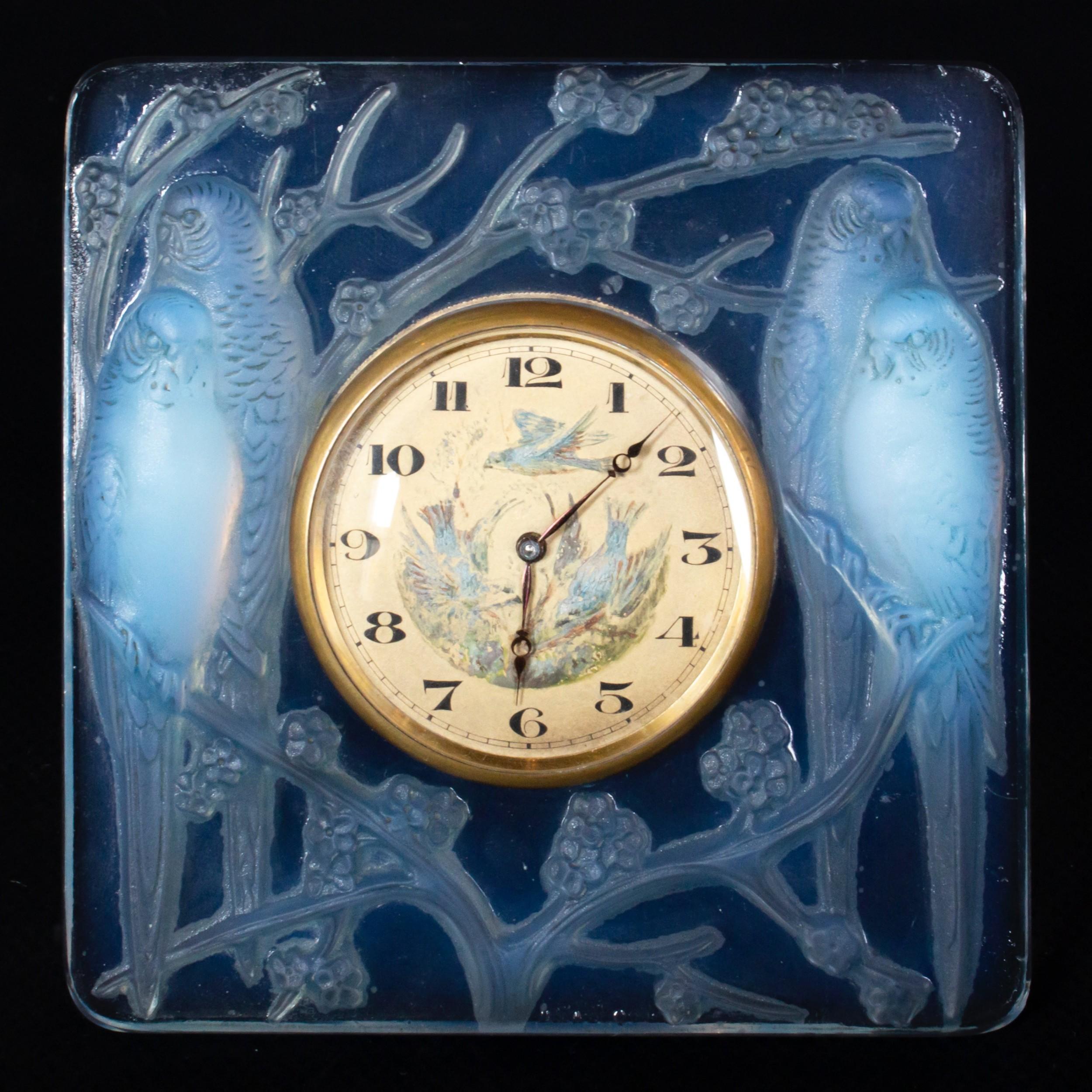 insparables art deco glass clock by ren lalique