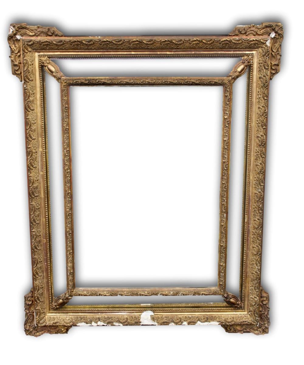 19th c french gilt framed cushion mirror