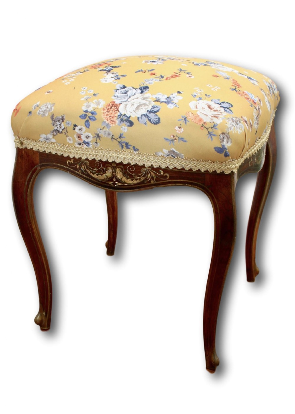 fine quality footstool made from rosewood with brass and mother of pearl inlay