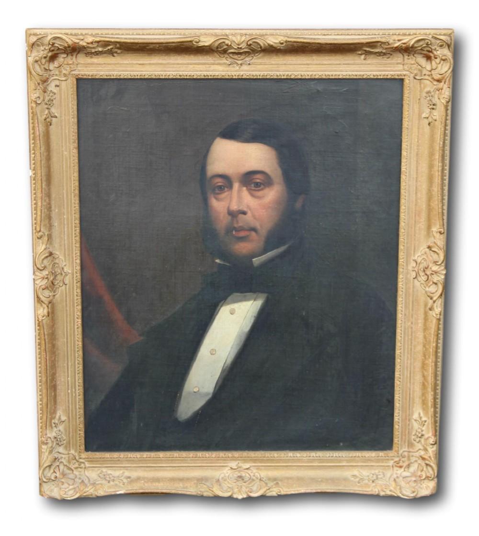 victorian portrait of a gentleman in gilt frame
