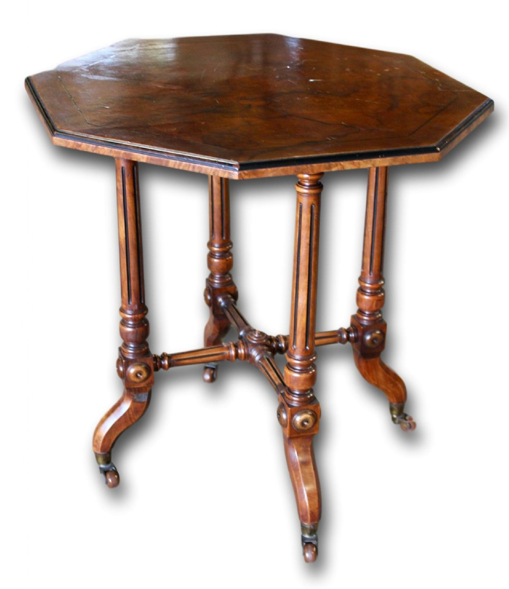 victorian walnut occasional table with ebonised detail