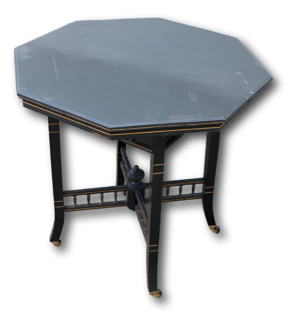 victorian ebonised and gilt octagonal occasional table