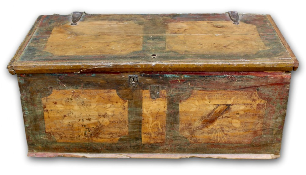early 19th c painted pine coffer