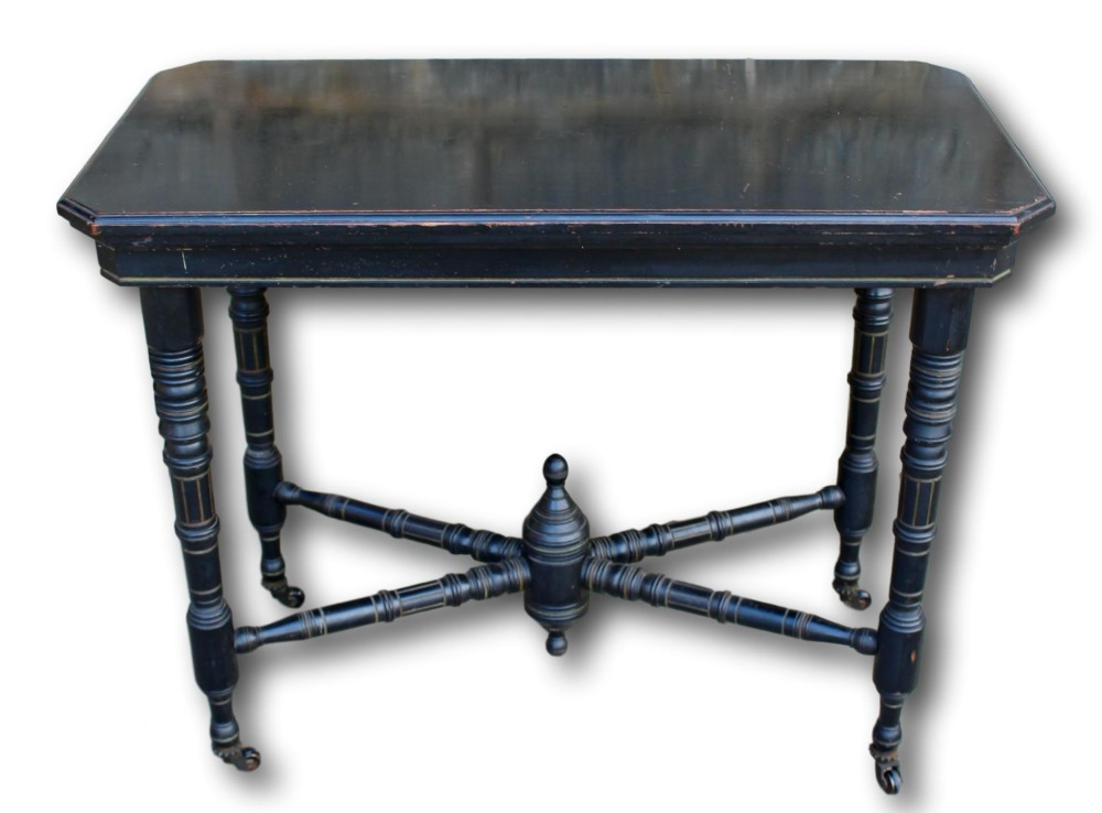 victorian ebonised fold over card table on original casters
