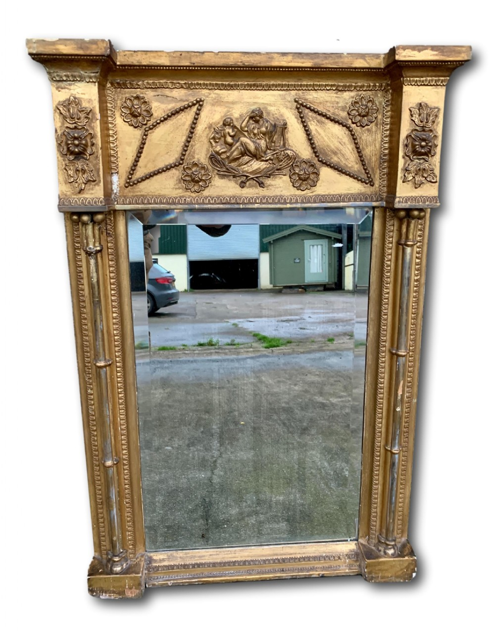 19th c gilt pier mirror with original bevelled plate