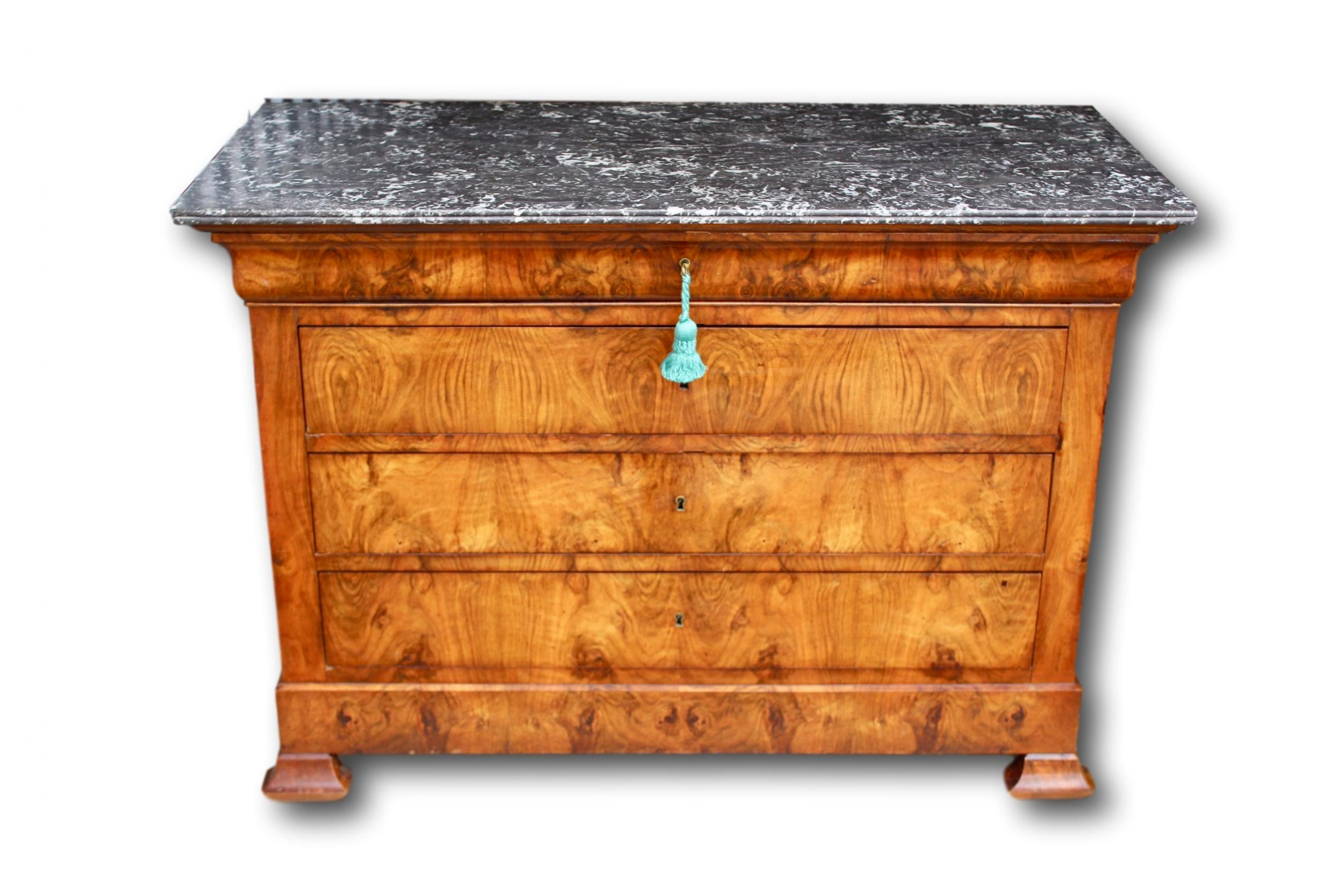 french walnut marble top commodechest of drawers