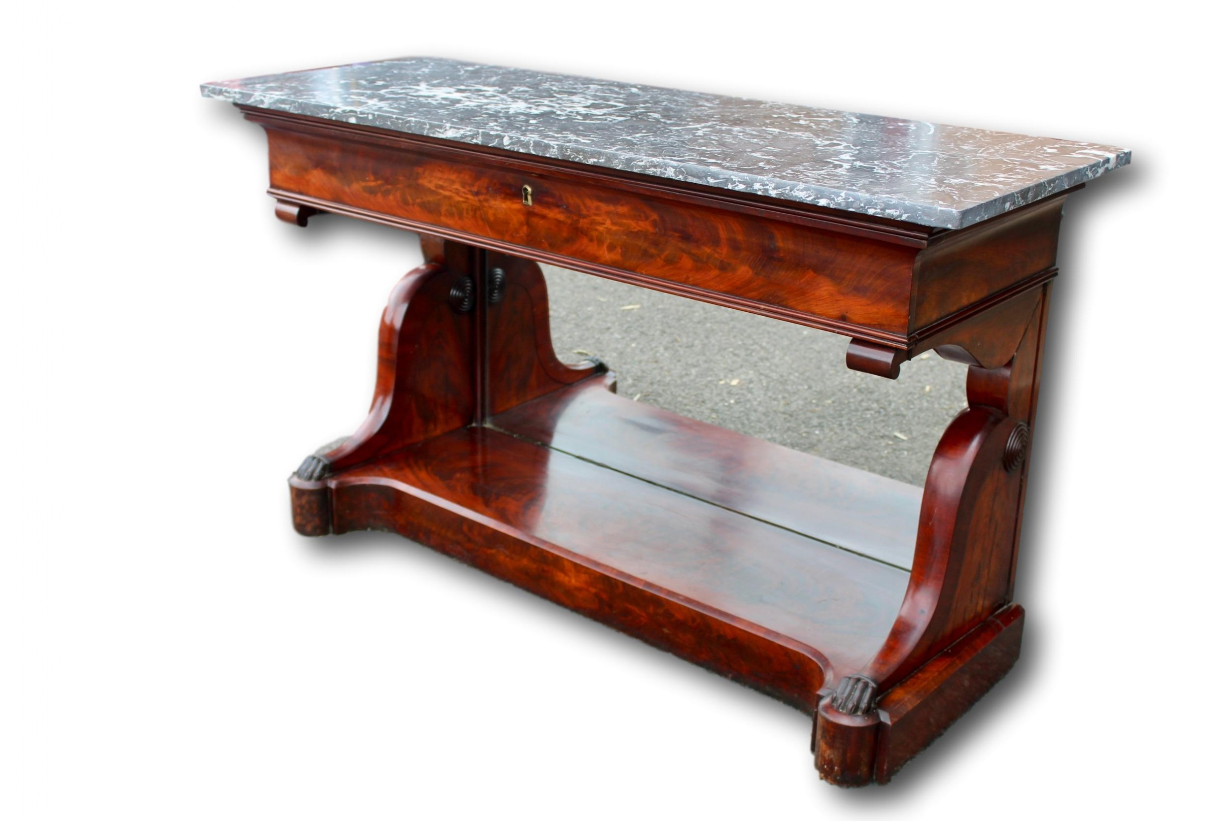 english regency mahogany console table with marble top