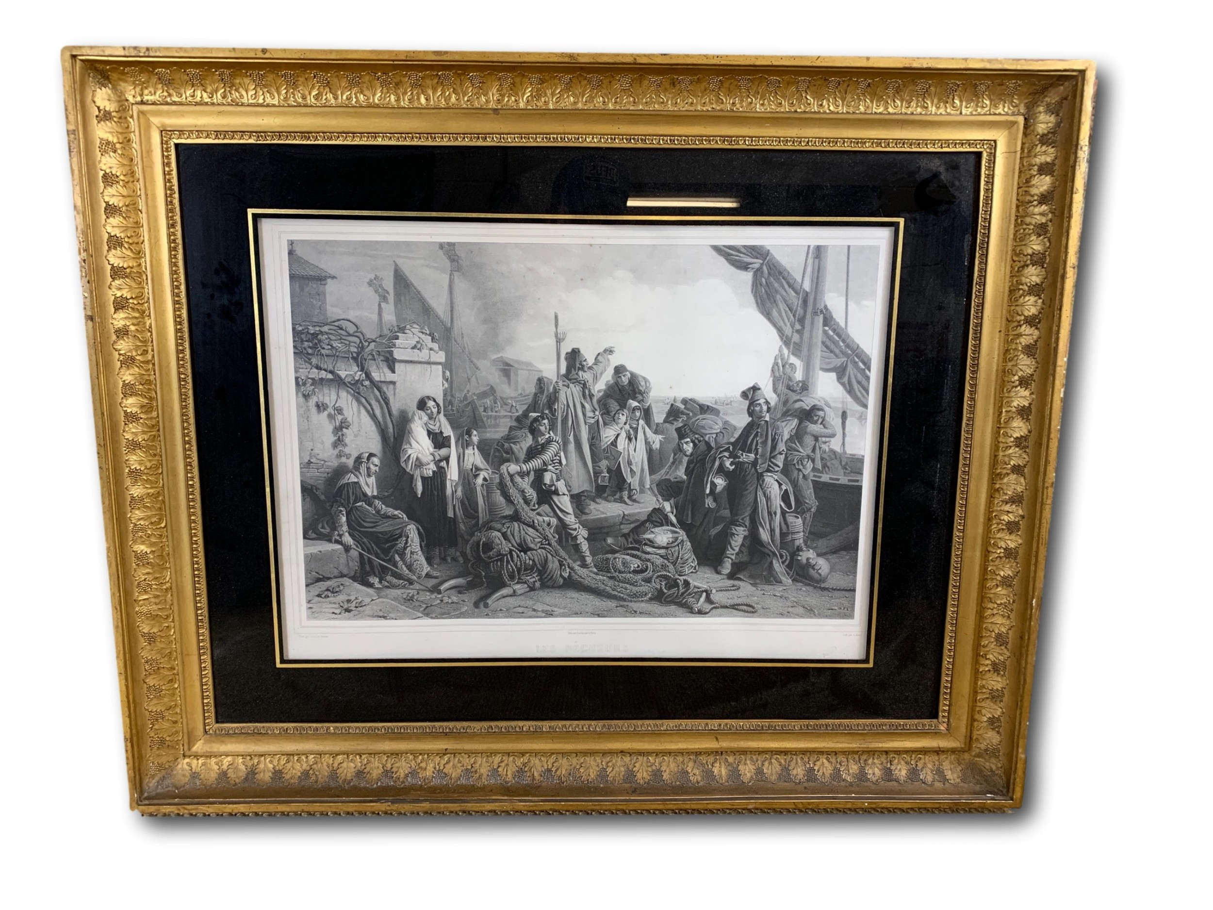 large 19th c french engraving in gilt frame