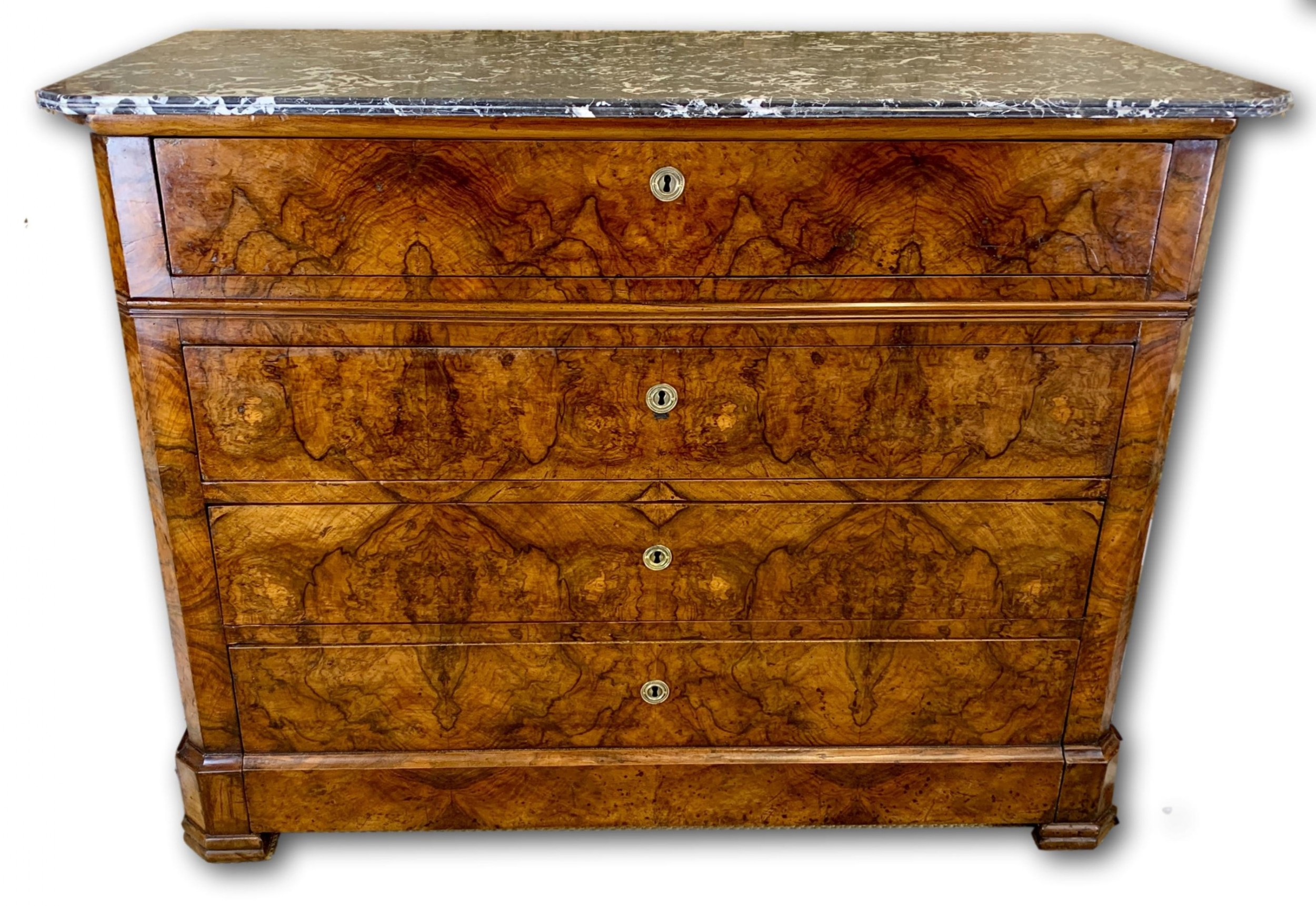 19th c french burr walnut commode with marble top