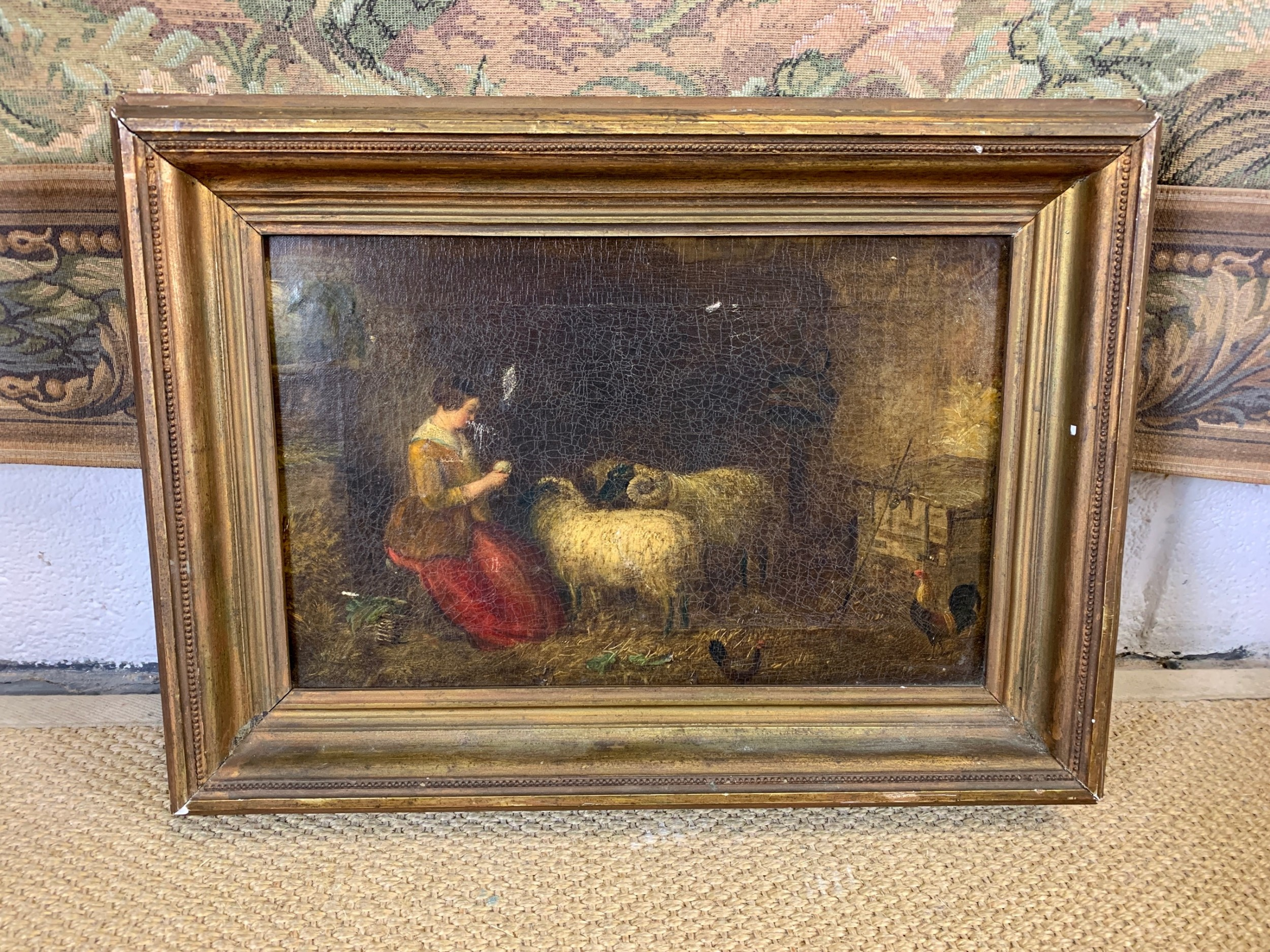 19th c oil on canvas in gilt frame
