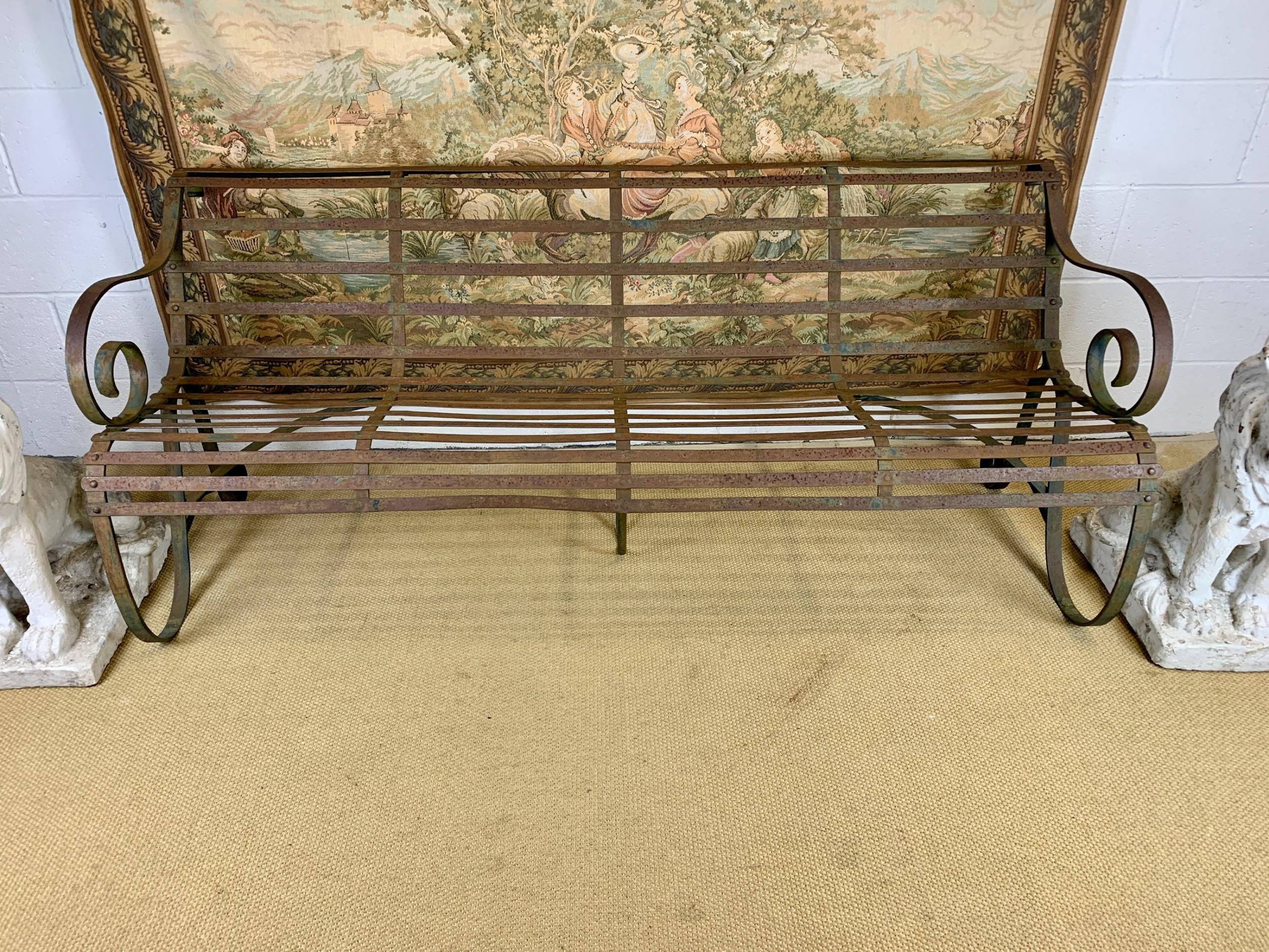 large victorian strapwork garden bench