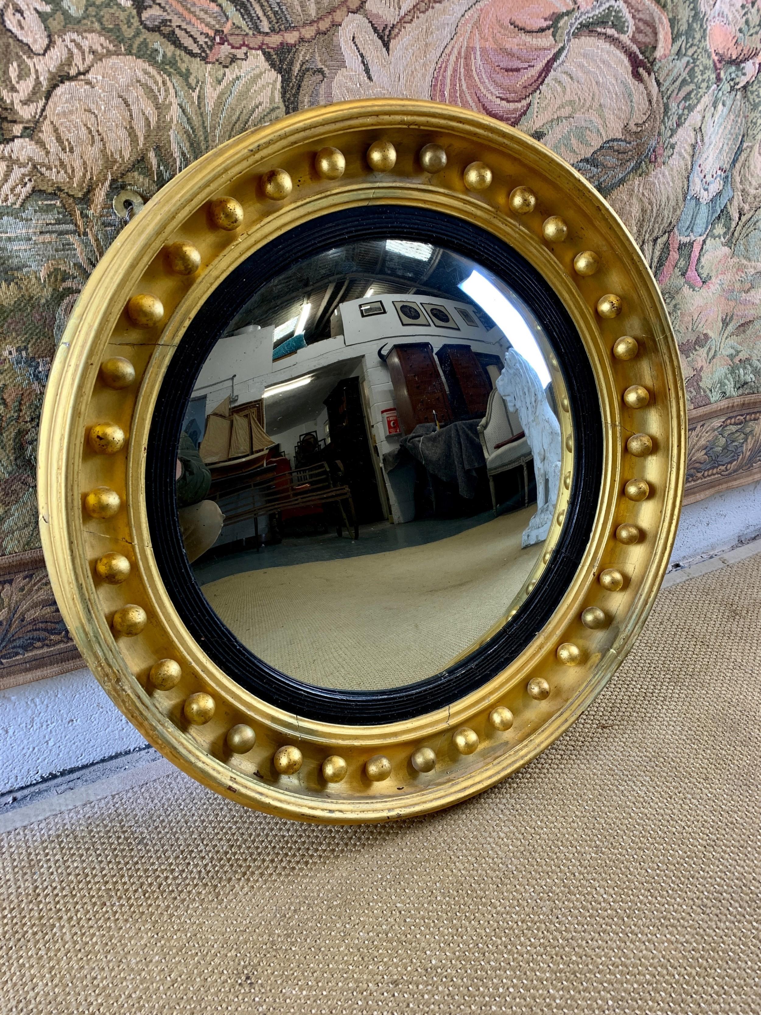 large 19th c gilt convex mirror