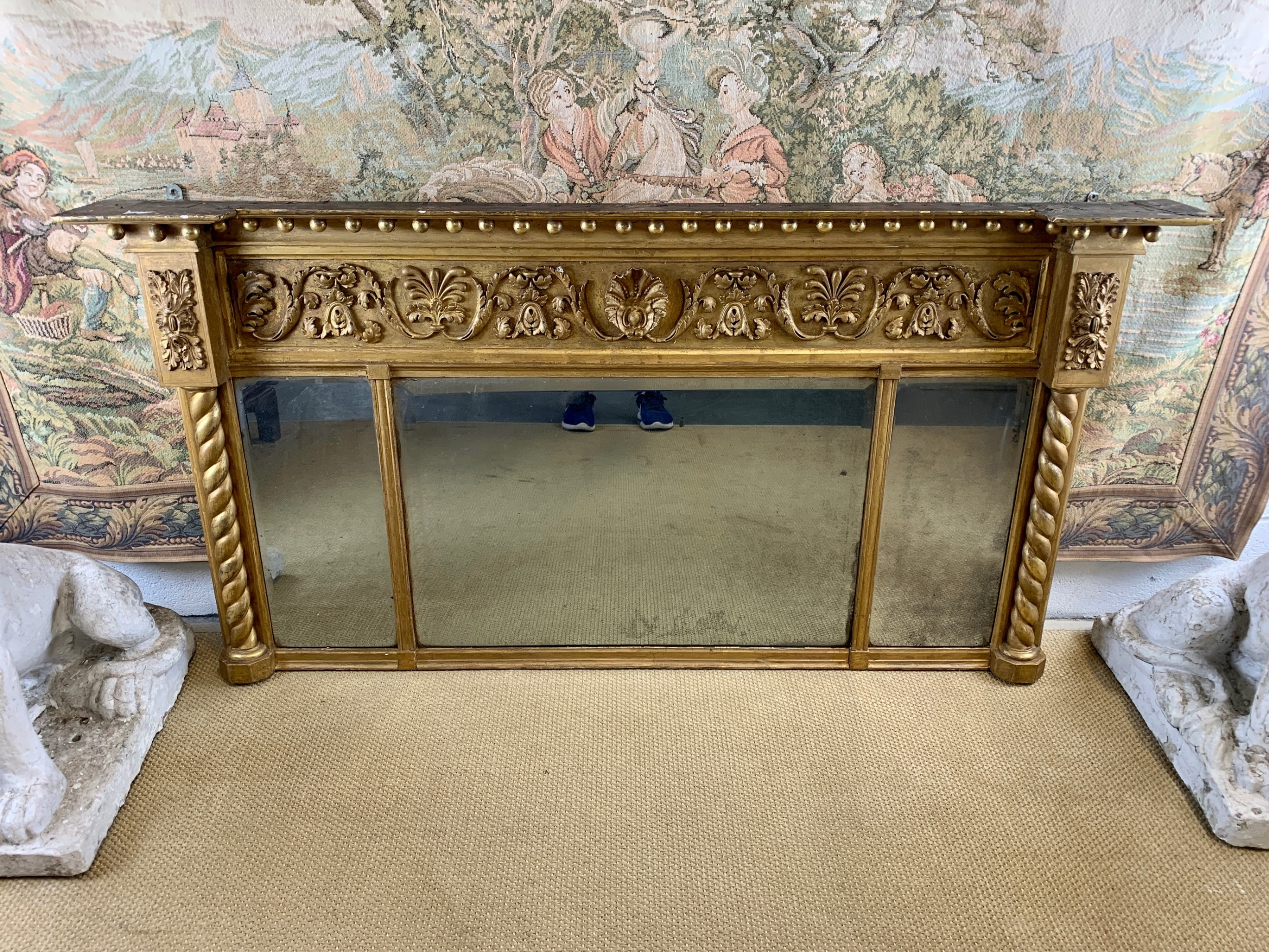 large regency gilt overmantle mirror